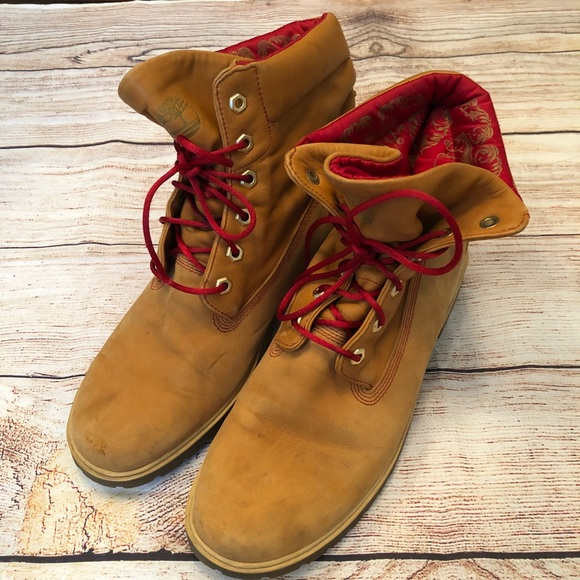 RARE Red Crown Satin Lined Timberland Boots